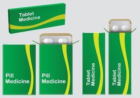 Vetores de caixa de pílula verde
