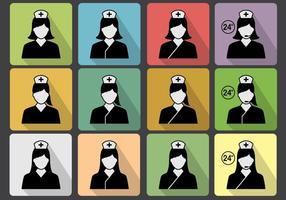 Conjunto de vetores de ícone de enfermeira