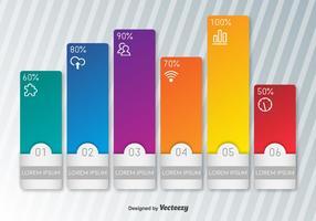 Indicadores vetoriais editáveis coloridos de porcentagem vetor