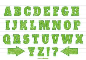 Conjunto de alfabeto de estilo Scribble verde vetor
