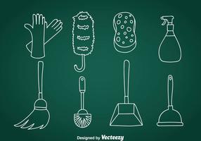 Ícones de vetor de doodle de limpeza de casa