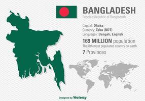 Ilustração vetorial da localização de Bangladesh e mapa do mundo