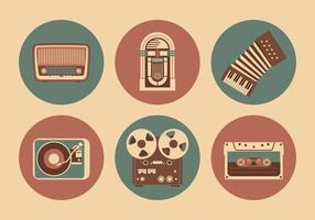 Objetos musicais vintage vetor