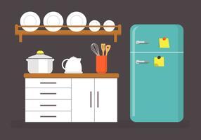 Ilustração plana do vetor da cozinha