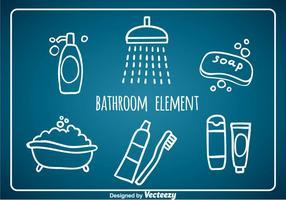 Elementos do banheiro Elementos do desenho da mão vetor