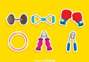 Ícones de cores do equipamento de exercícios
