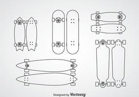 Ícones do contorno do skate vetor