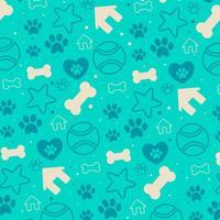 Fundo do vetor com ícones decorativos do filhote de cachorro