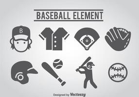 Ícones de basebol vetor