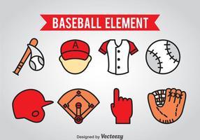 Vector de ícones de elementos de basebol