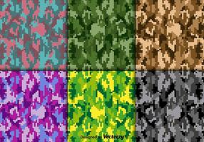 Conjunto de textura de camuflagem digital de vetor brilhante