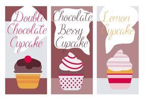 Fundo de vetores de cupcakes fofos grátis