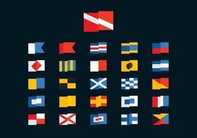 Bandeiras grátis de mergulho e marinho vetor