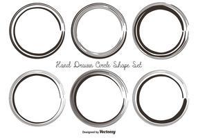 Conjunto de forma de círculo desenhado mão suja vetor
