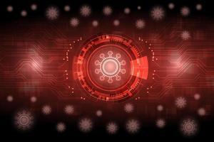 fundo vermelho brilhante vírus futurista vetor