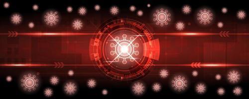 fundo de tecnologia de coronavírus brilhante vermelho vetor