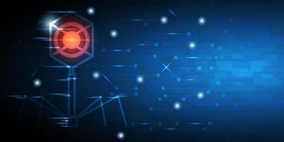fundo abstrato tecnologia com vírus brilhante vetor