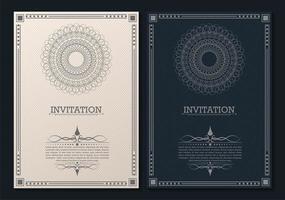 modelo de convite decorativo de estilo vintage vetor