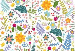 Fundo colorido de flores coloridas à mão vetor