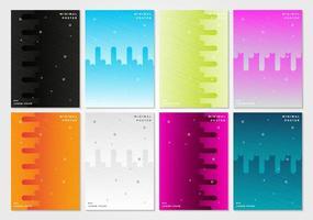 conjunto de design de capas mínimas vetor