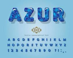 fonte brilhante 3d azul