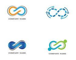 logotipos infinito laranja, azul e verde vetor