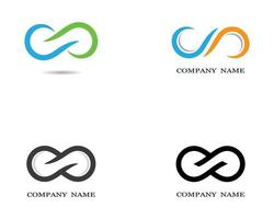 logotipos de símbolo de infinito laranja, verde e azul vetor