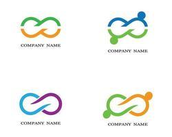 logotipos de infinito verde, laranja, azul e roxo vetor