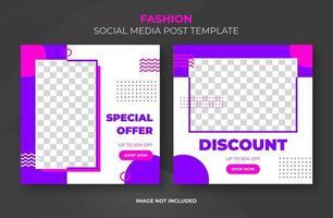 modelo de banner retrô roxo rosa de mídia social