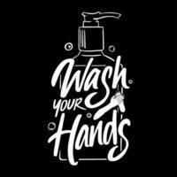 lave as mãos lettering com garrafa desinfetante para as mãos vetor