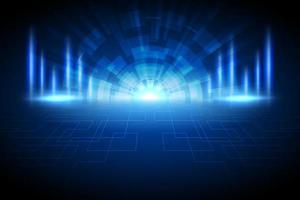 fundo de tecnologia de luz brilhante azul escuro abstrato