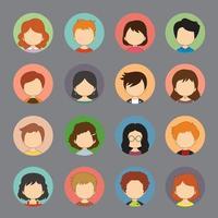 um conjunto de avatares de rosto feminino masculino vetor