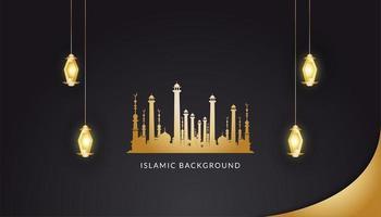 fundo islâmico com lanternas douradas vetor
