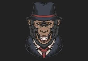 cartola do macaco da máfia vetor
