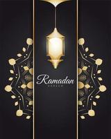Ramadan Kareem com lanternas árabes douradas vetor