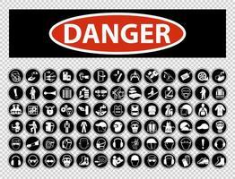 coleção de símbolos de equipamentos de proteção individual necessários vetor