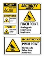 aviso de segurança pinch point sinais