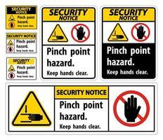 aviso de segurança pinch point hazard, keep hands clear symbol signs vetor