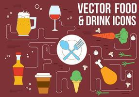 Ícones gratuitos de bebidas e alimentos do vetor