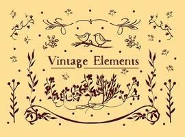 Fundo de vetor de elementos vintage gratuitos