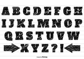 Conjunto de alfabeto de rabisco preto vetor