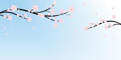 fundo de flores e ramos de cerejeira japonesa vetor