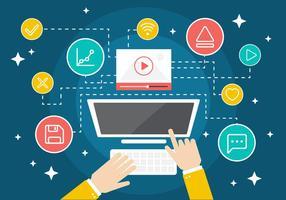 Free Flat Digital Marketing Icon Coleção Fundo do vetor