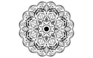 padrão circular mandala preto e branco flor vetor