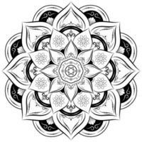 flor de mandala de círculo preto e branco
