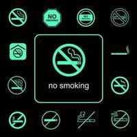 conjunto de ícones não fumadores vetor