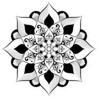 mandala preto e branco com estilo floral vintage
