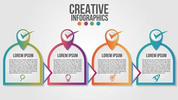 4 passo arredondado forma moderna infográfico timeline design vetor
