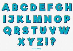 Conjunto de alfabeto comic retro divertido vetor