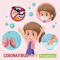 diagrama mostrando dicas de prevenção de meninas e coronavírus vetor
